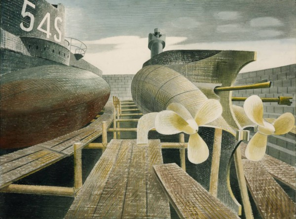 Submarines in Dry Dock 1940 by Eric Ravilious 1903-1942