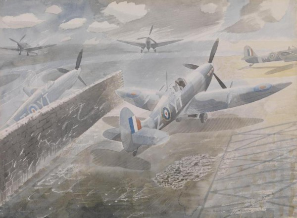 1942 Spitfires at Sawbridgeworth watercolour