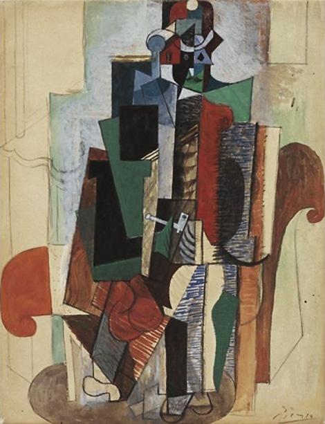 """""""Человек с трубкой, сидящий в кресле"""" 1916"""