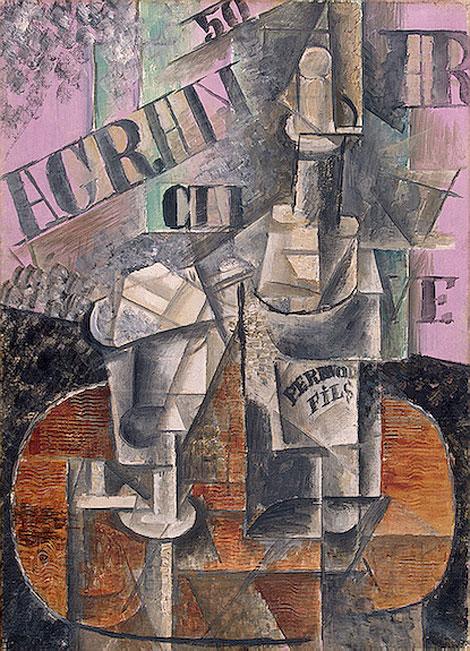 """""""Столик в кафе (Бутылка Перно)"""" 1912"""