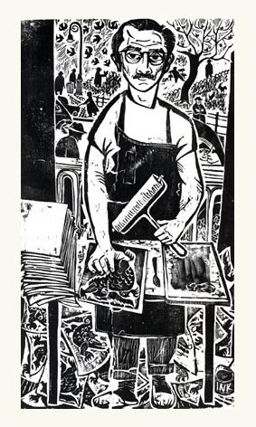 Antonio Frasconi, self portrait, woodcut
