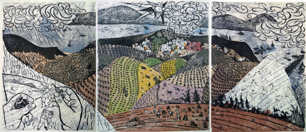 Antonio Frasconi, woodcut, from Santa Barbara triptych1951.