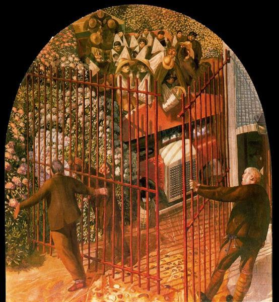 Конвой раненых солдат прибывающих к воротам больницы Бофорта