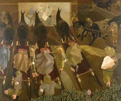 Прибытие транспорта с ранеными на перевязочный пункт Сентябрь 1916.