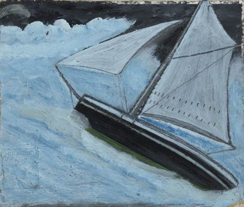 Маленькая лодка в бурном море