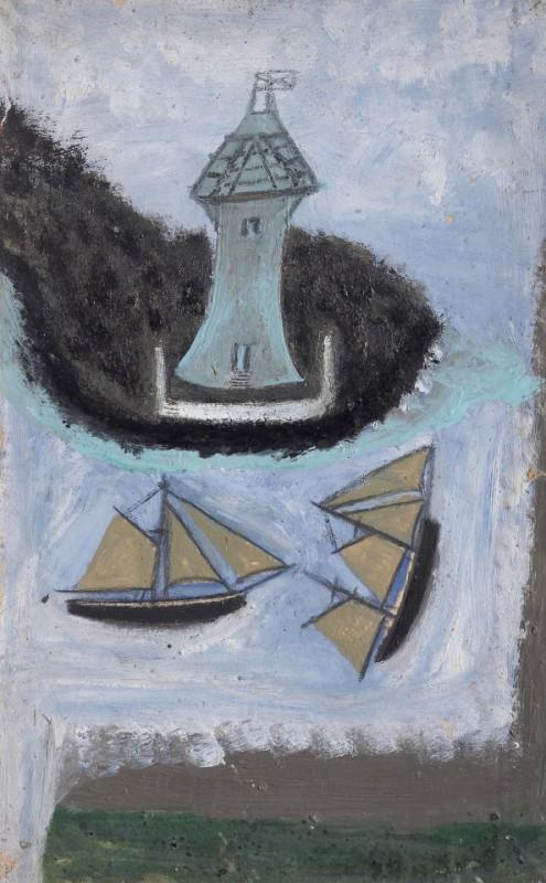 Маяк и два рыбацких корабля
