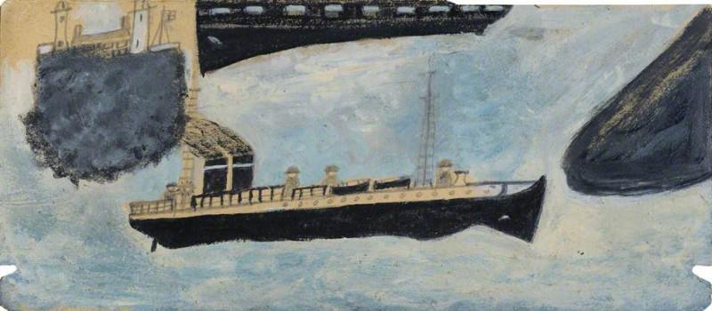 Моторное судно с четырьмя людьми