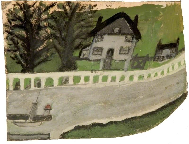 Пейзаж с домом и деревьями