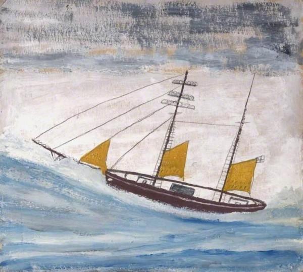Лодка с двумя мачтами и жёлтыми парусами