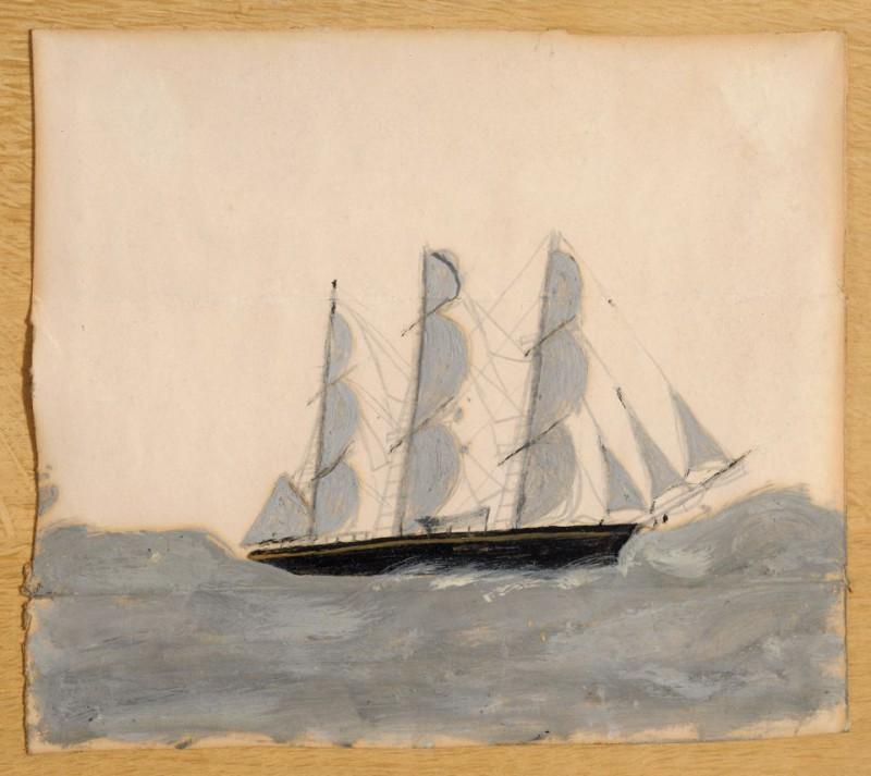 Трёхмачтовый корабль на белой волне