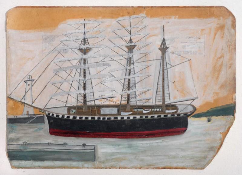 Трёхмачтовый корабль у маяка