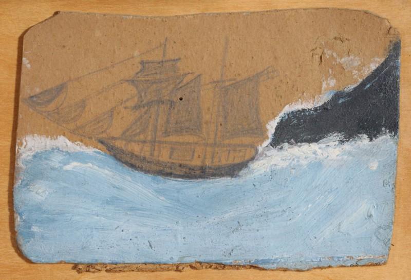 Шхуна в синем море