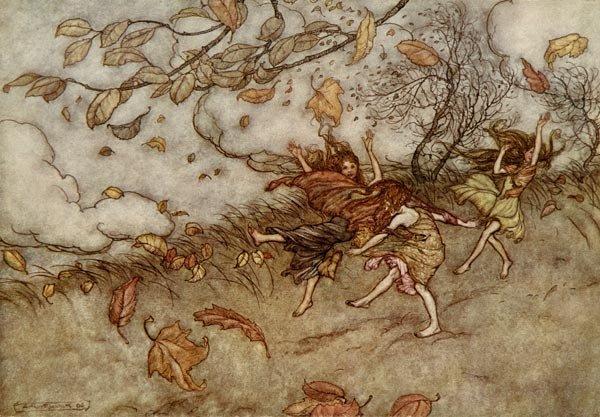 Игра с опавшими листьями