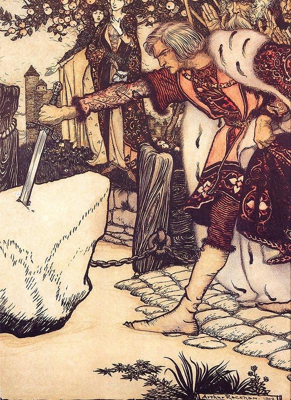 Сэр Галахад вытаскивает меч.