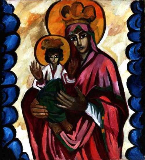 Богоматерь (с орнаментом). Религиозная композиция. Триптих. Центральная часть