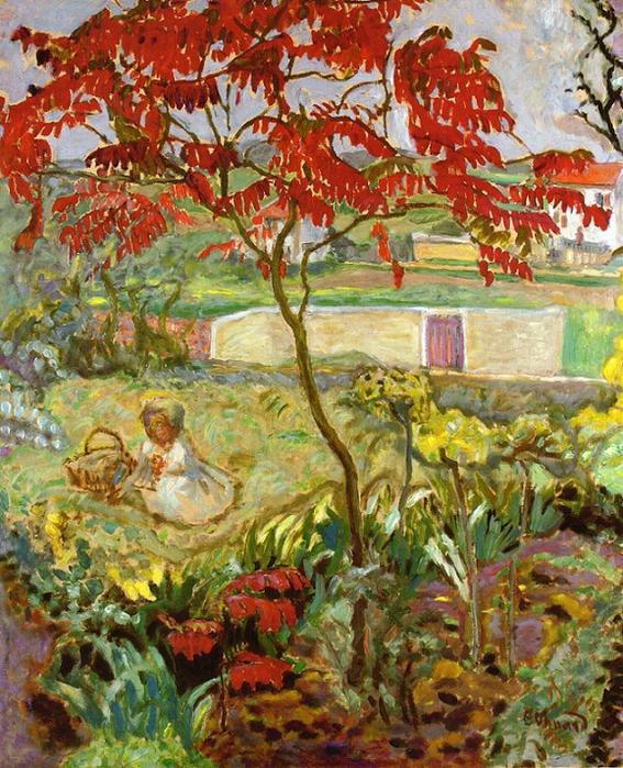 Сад с красным деревом
