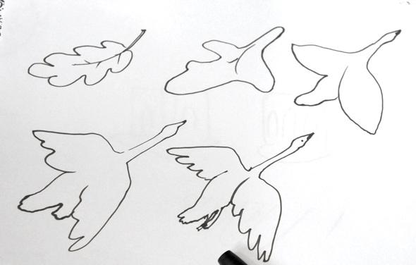 Трансформация из листа в птицу