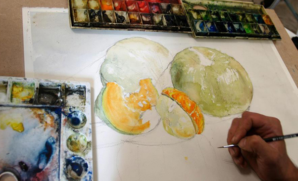Рисование натюрморта акварельным и красками