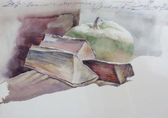 Рисование дерева акварелью. Обучение