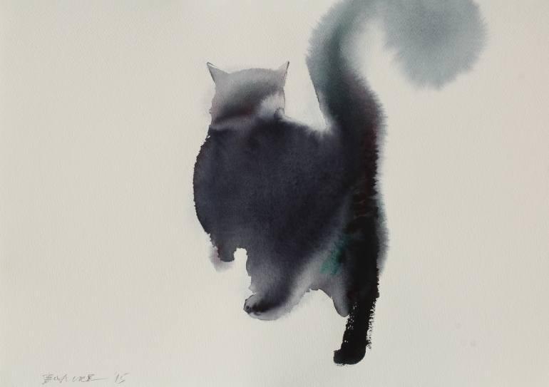 Шерстяная акварель мастер класс кот или кошка пошагово #4