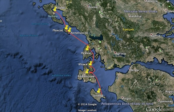 Маршрут по островам Греции